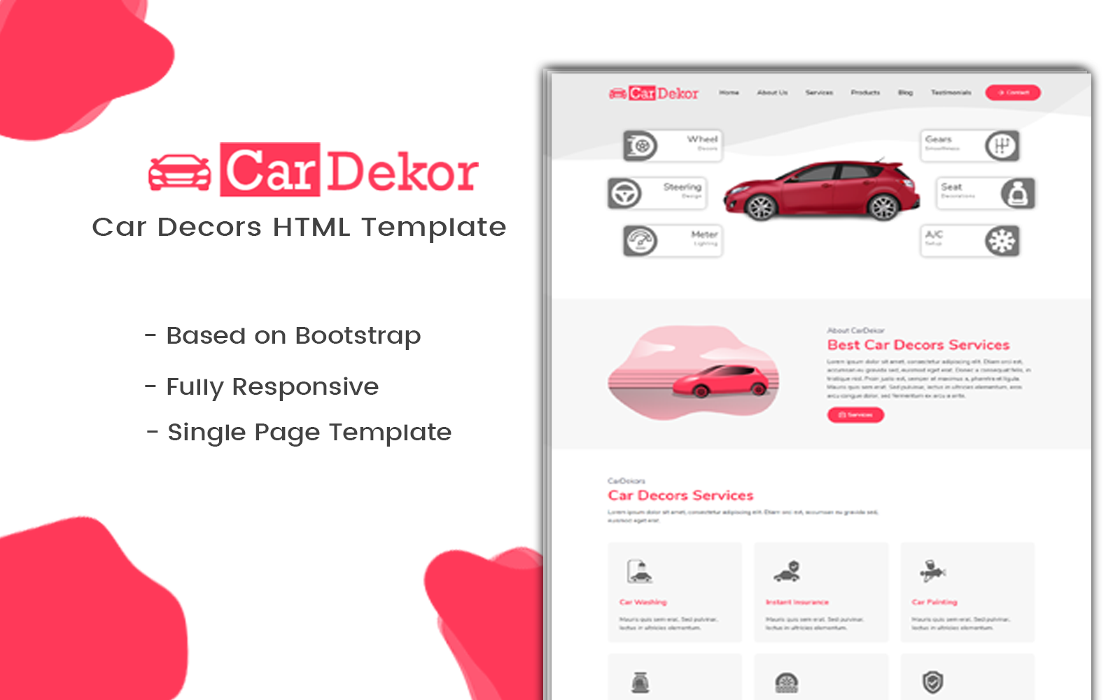 CarDekor | Car Decor Landing Page Template