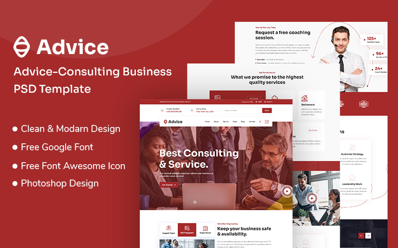 """Advice-Consulting Business PSD PSD Template"" PSD Template №108797"