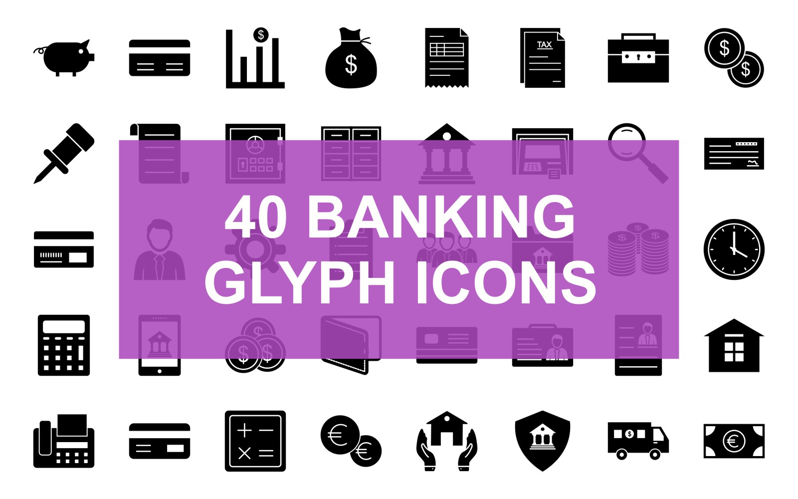 40 Banking Glyph Black Iconset Template