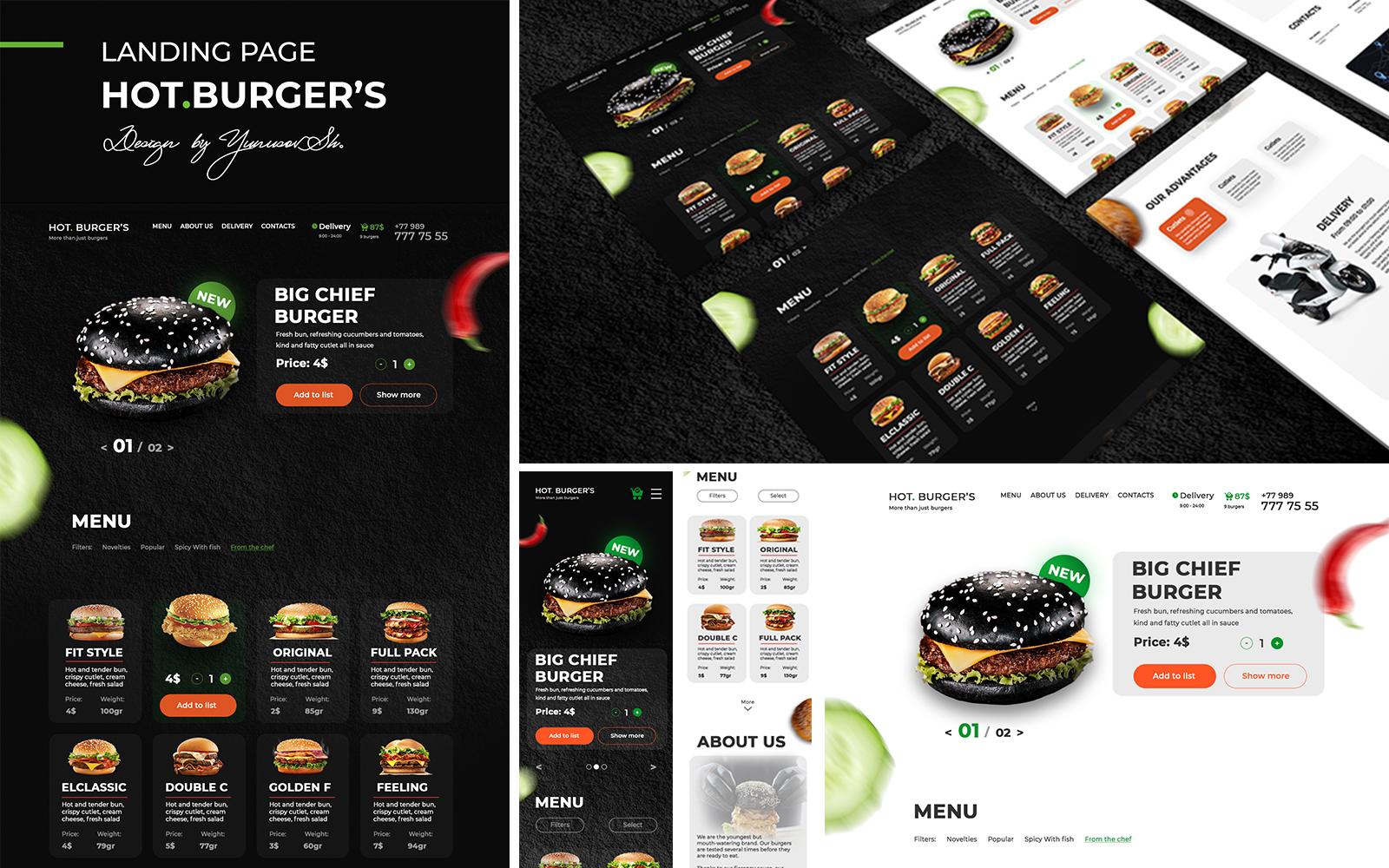 "Modello PSD #108737 ""Hot Burgers Landing Page"""