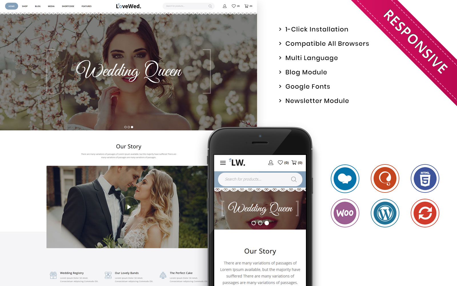 """Tema WooCommerce Bootstrap #108795 """"Lovewed - The Wedding Store Responsive"""""""
