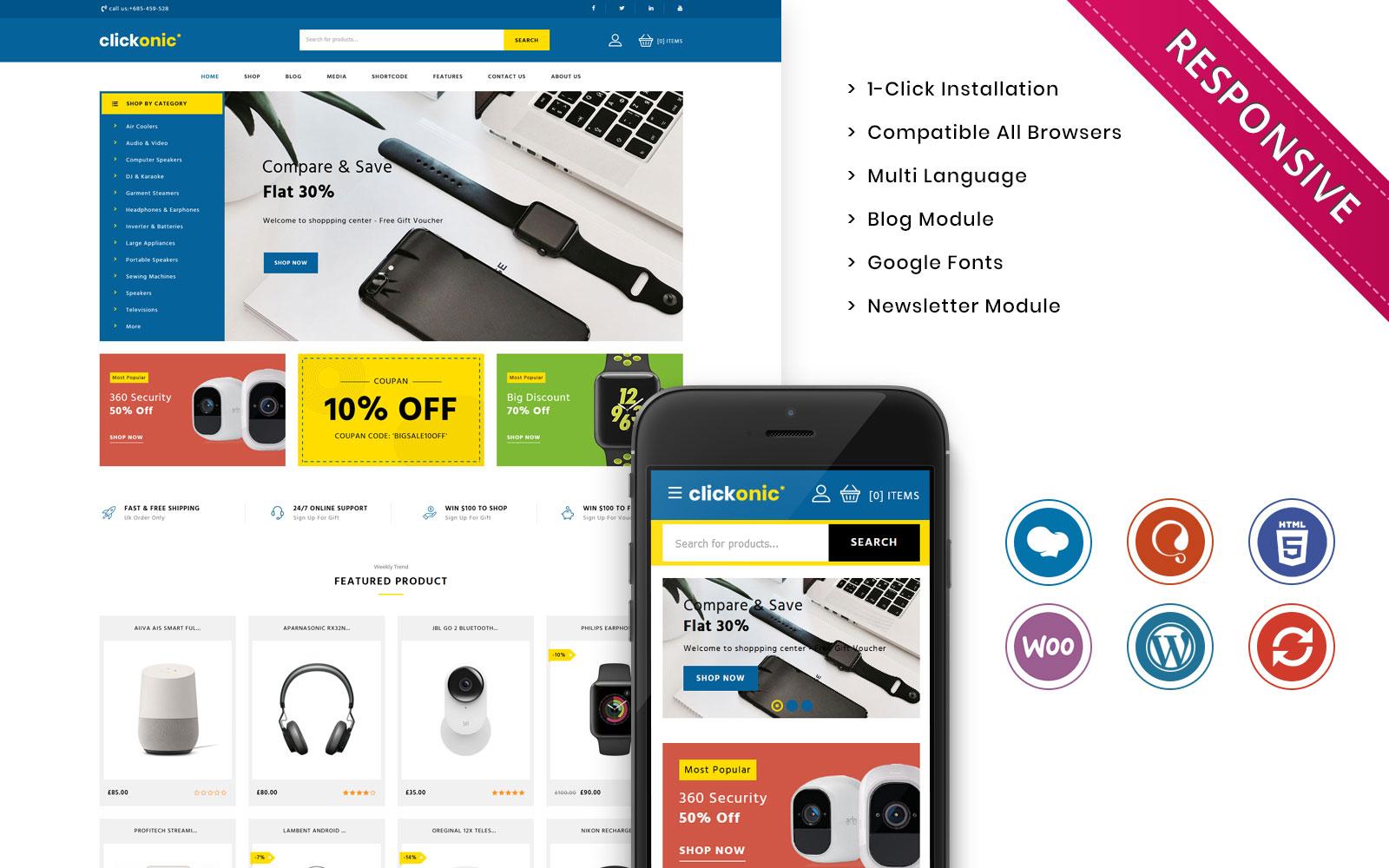 "Tema WooCommerce Responsive #108735 ""Clickonic - The Mega Electronic Store"""
