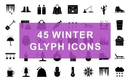 Winter Glyph Black Set Icon Set
