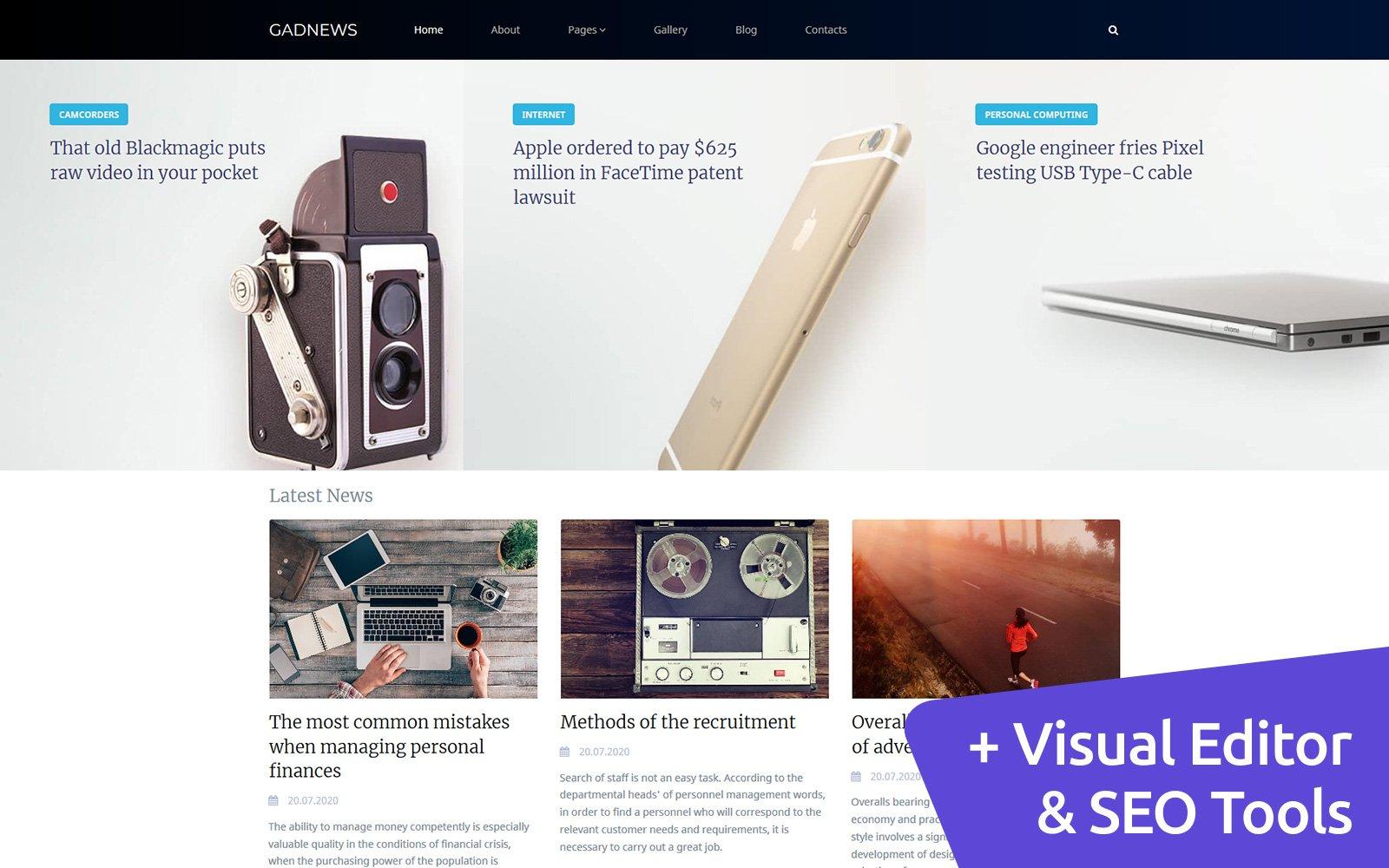"""Gadnews - Electronics Review"" 响应式Moto CMS 3 模板 #108854"