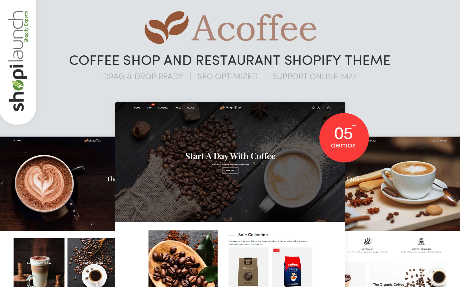 """Shopify Theme namens """"Acoffee - Coffee Shop And Restaurant"""" #108850"""