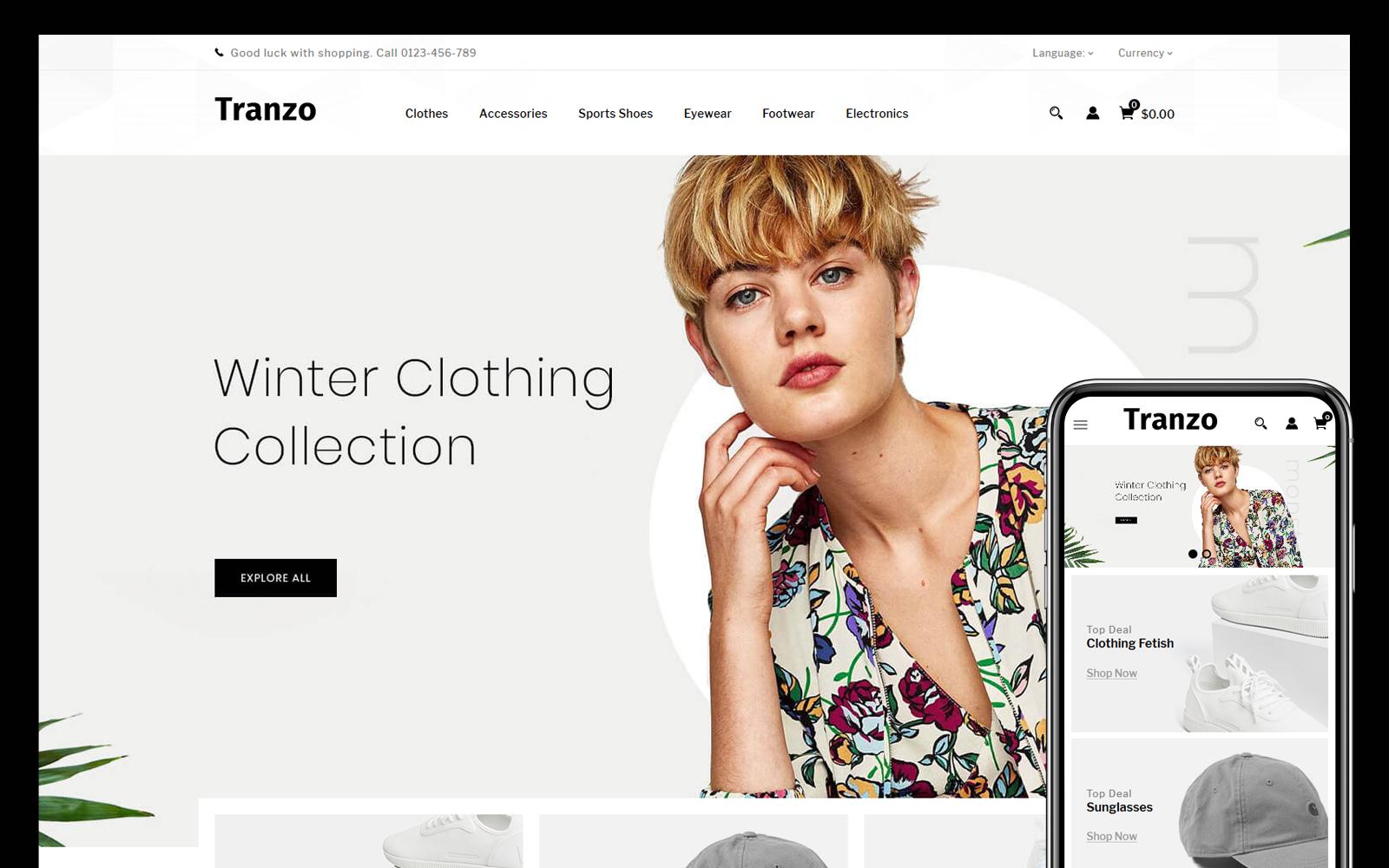 """""""Tranzo Fashion Accessories Store"""" thème PrestaShop adaptatif #108852"""