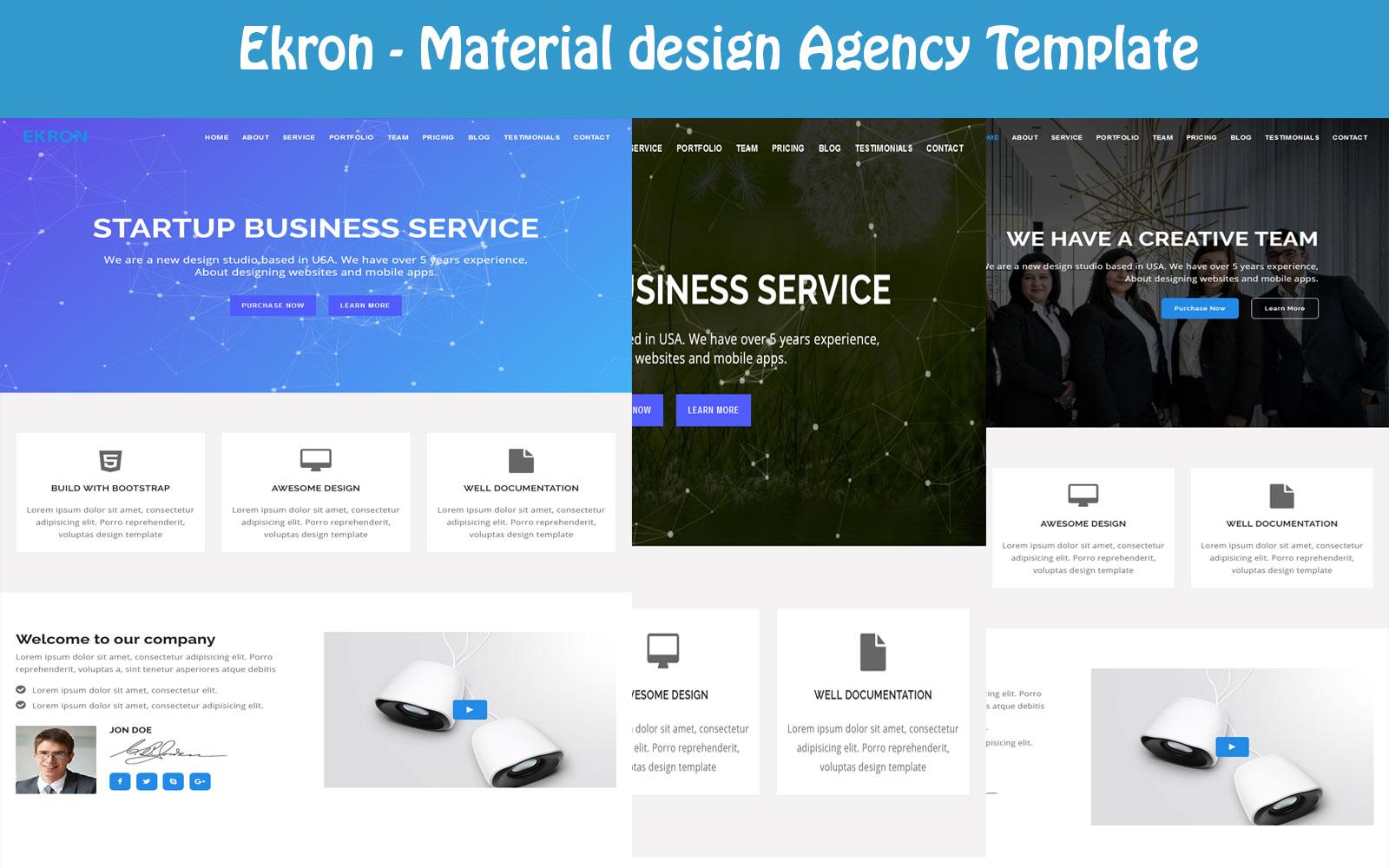 Responsywny szablon Landing Page Ekron - Material design Agency #108970