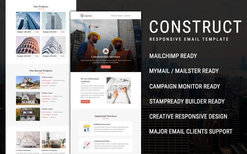 """Responzivní Newsletter šablona """"Construct  - Email"""" #108979"""