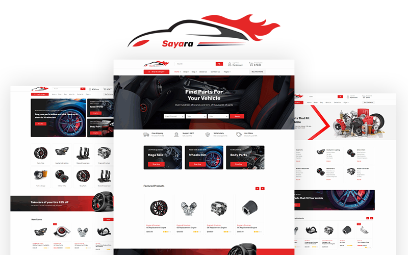 """Sayara - Auto Parts Store"" 响应式网页模板 #108978"