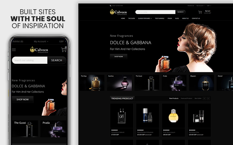 "Template Shopify Responsive #108976 ""Calveen - The Perfume Responsive"""