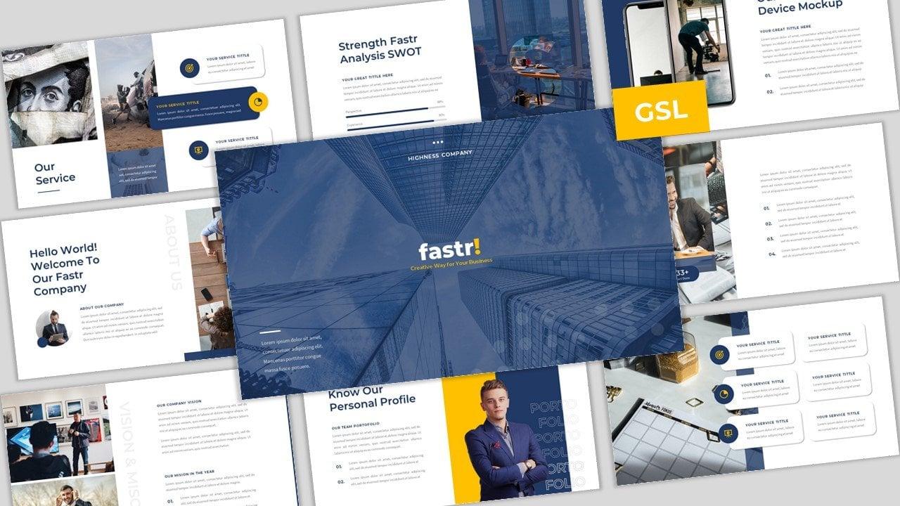 Fastr - Creative Company Business Google Slides Template Google Slides #109249