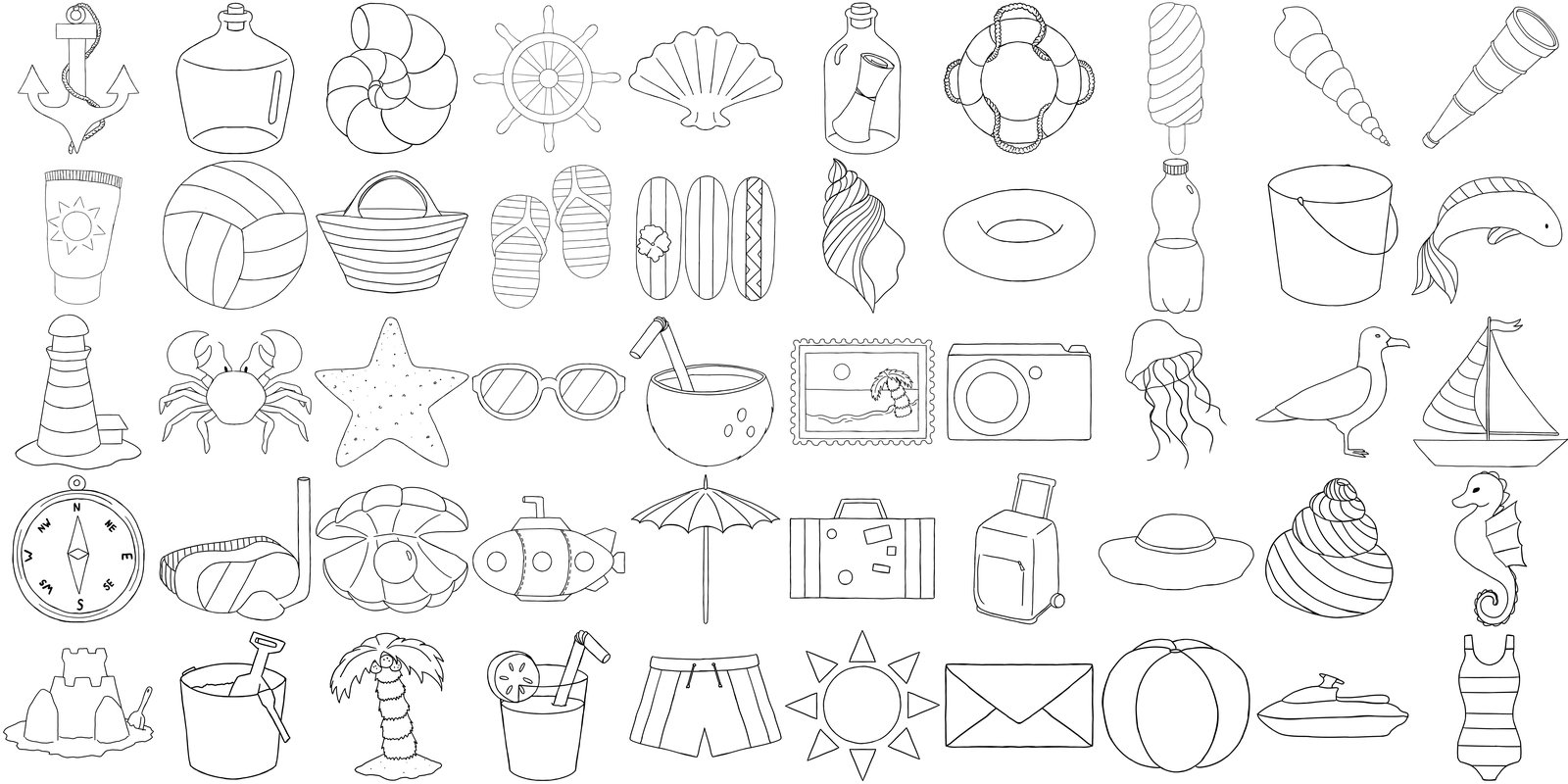 Sea Holidays, Travel - Outline Bundle Drawings Illustration