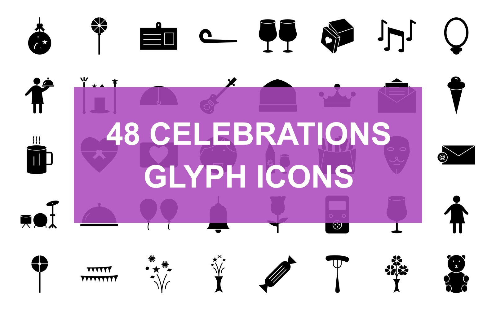 Celebrations Glyph Black Set Iconset Template