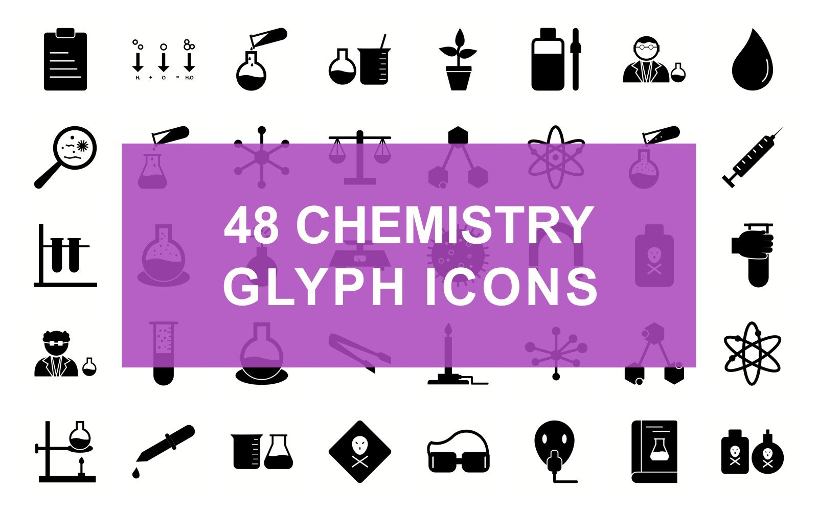 Chemistry Glyph Black Set Iconset Template