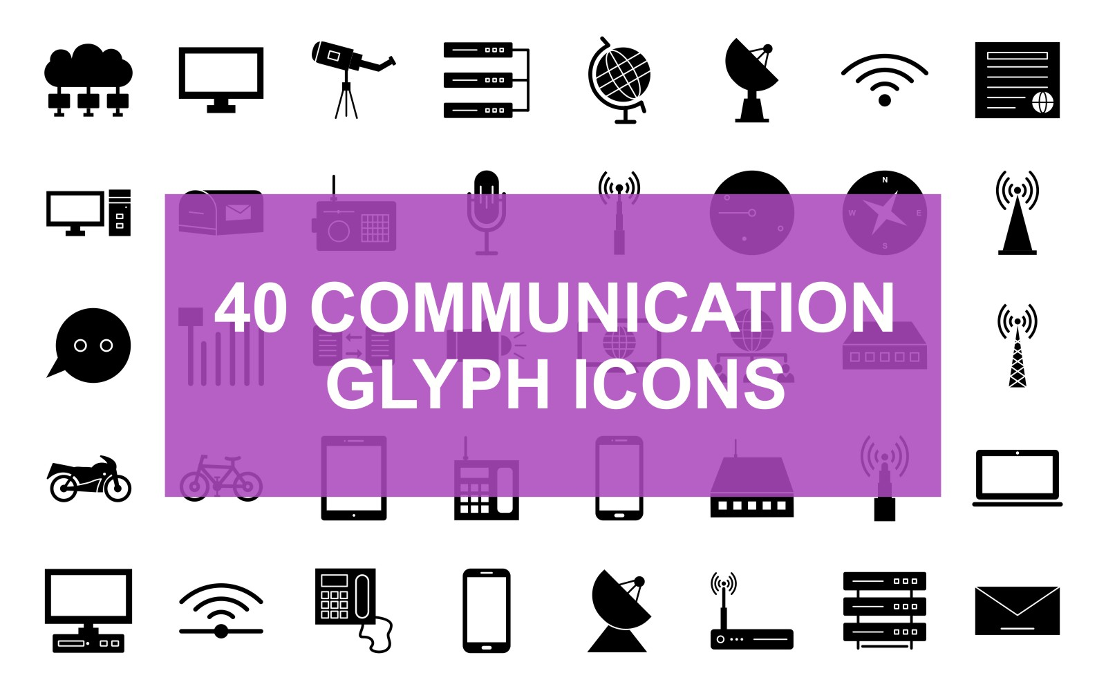 Communication Glyph Black Set Iconset Template