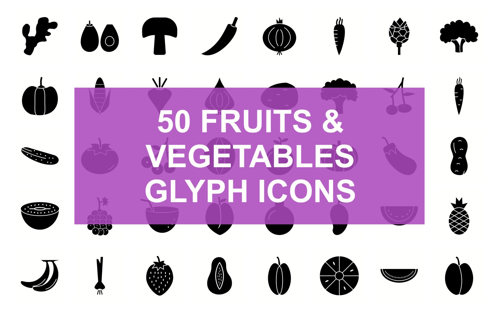 Fruits & Vegetables Glyph Black Set Iconset Template
