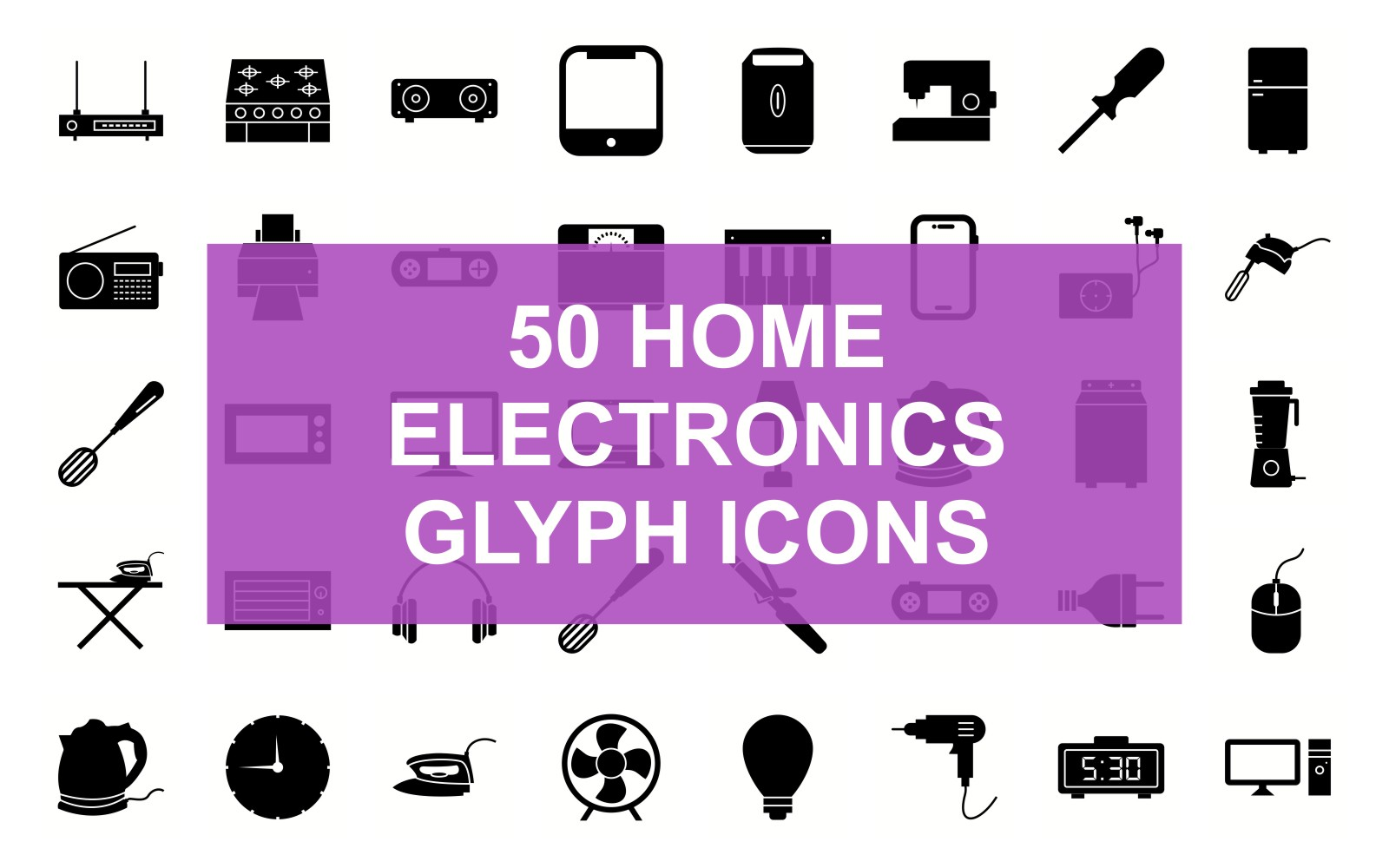 Home Electronic Glyph Black Set Iconset Template