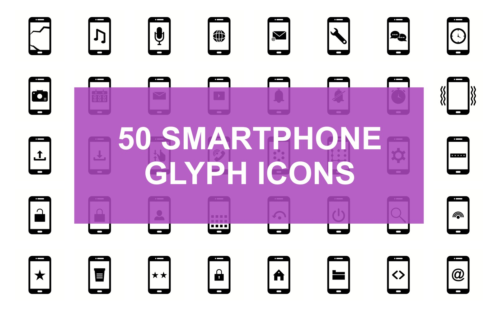 Smartphone Glyph Black Set Iconset Template