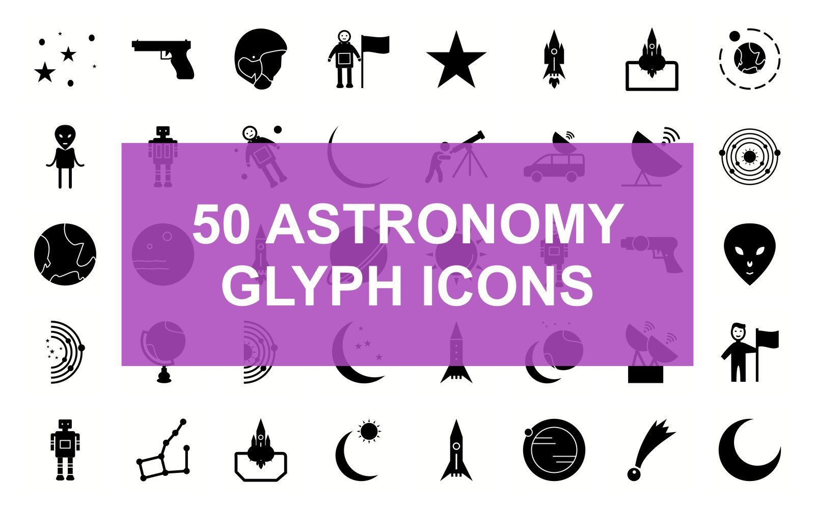Astronomy Glyph Black Set Iconset Template