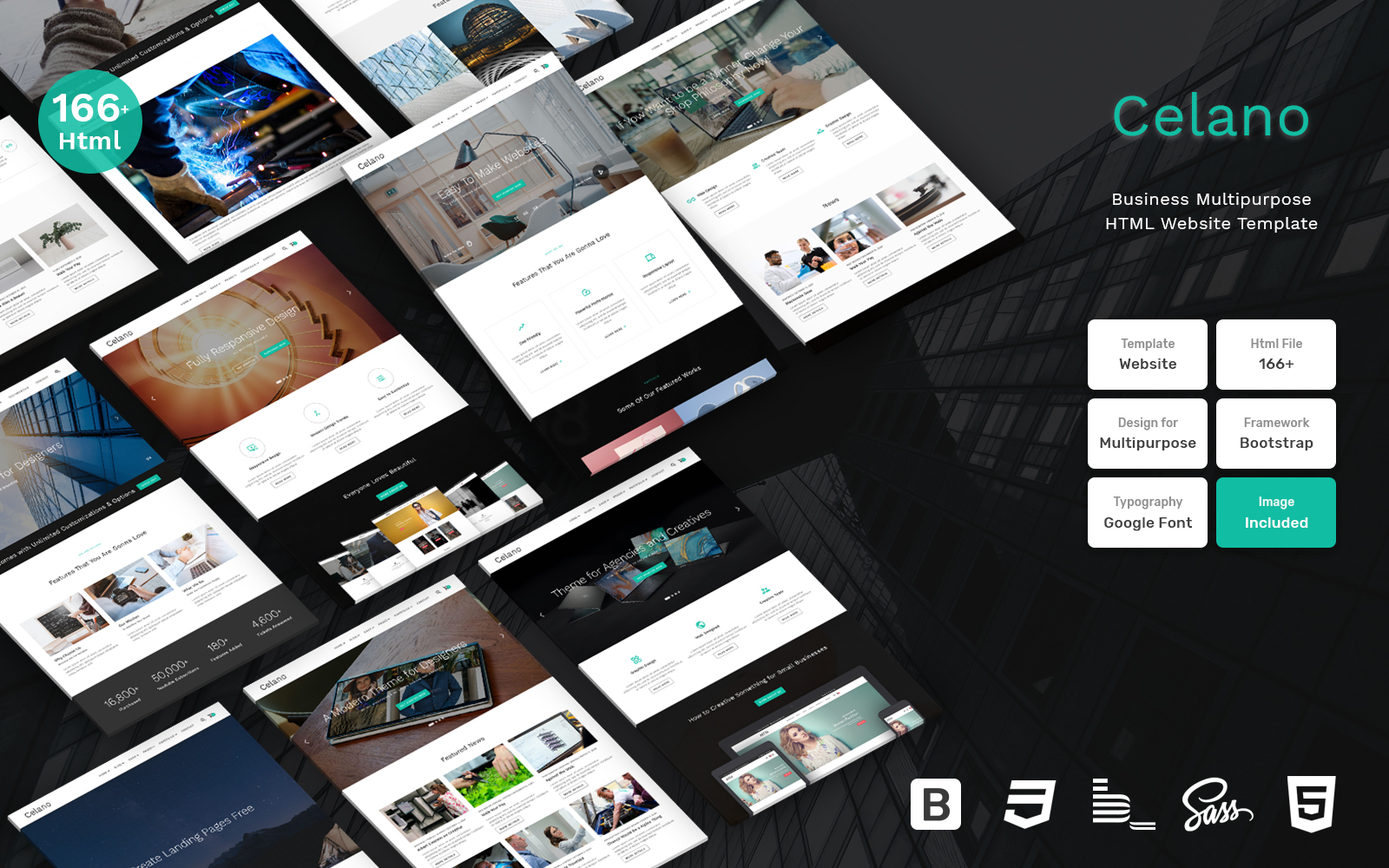 """Celano - Business Multipurpose Clean Bootstrap"" - адаптивний Шаблон сайту №109407"