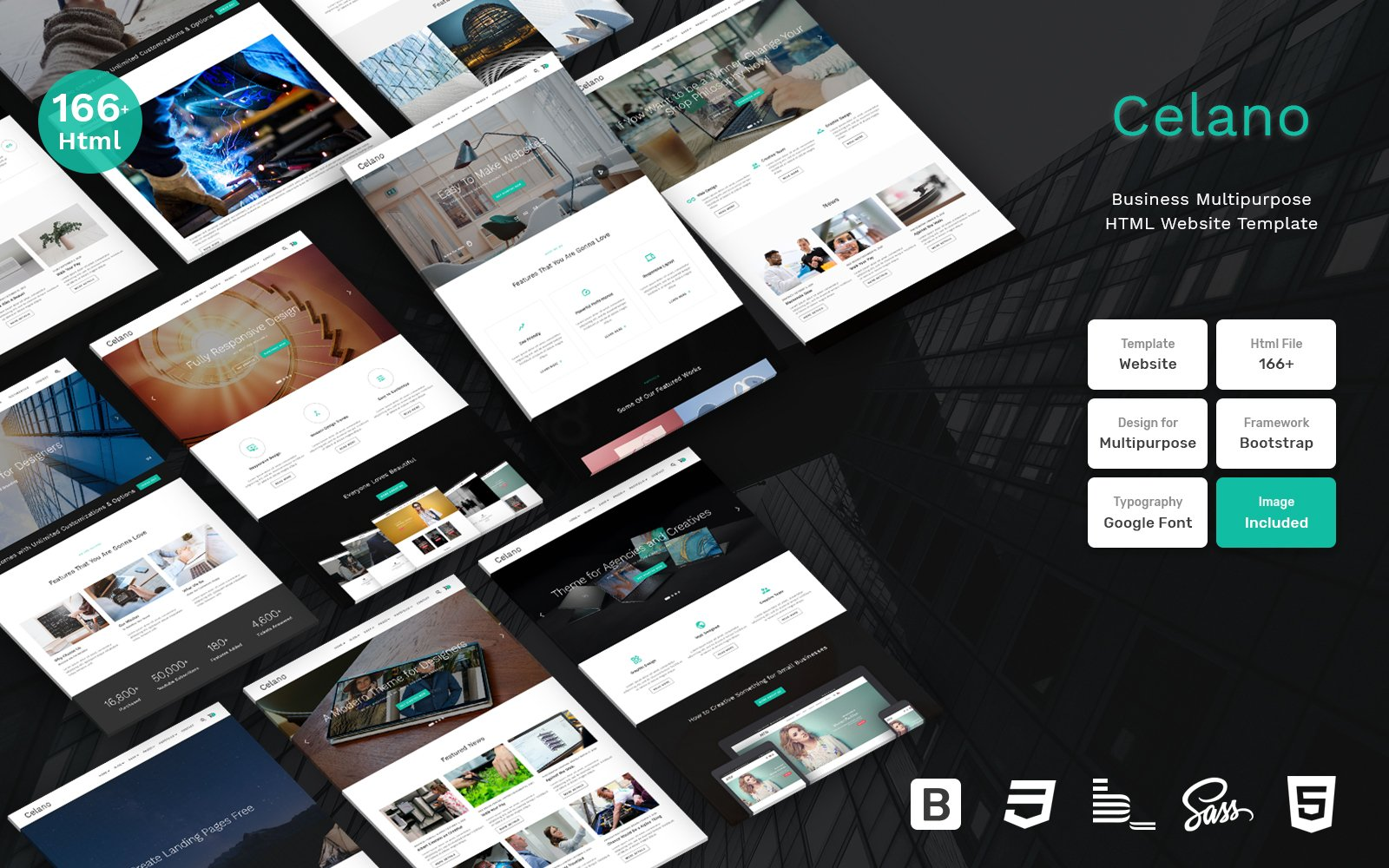 """""""Celano - Business Multipurpose Clean Bootstrap"""" Responsive Website template №109407"""