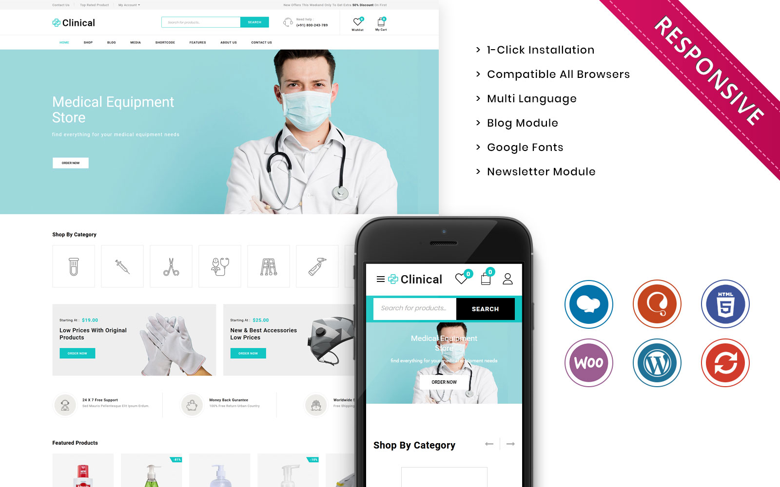 """Modello WooCommerce Responsive #109406 """"Clinical - The Medical Store Responsive"""""""