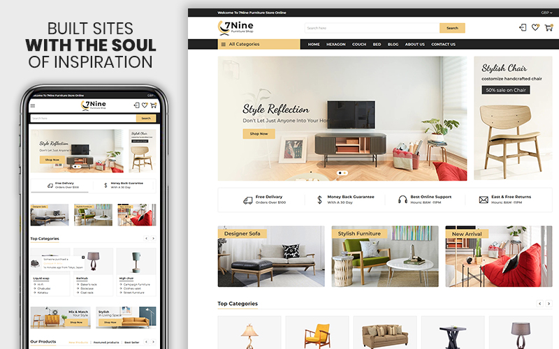 """7nine - The Furniture & Interior Premium"" thème Shopify adaptatif #109405"