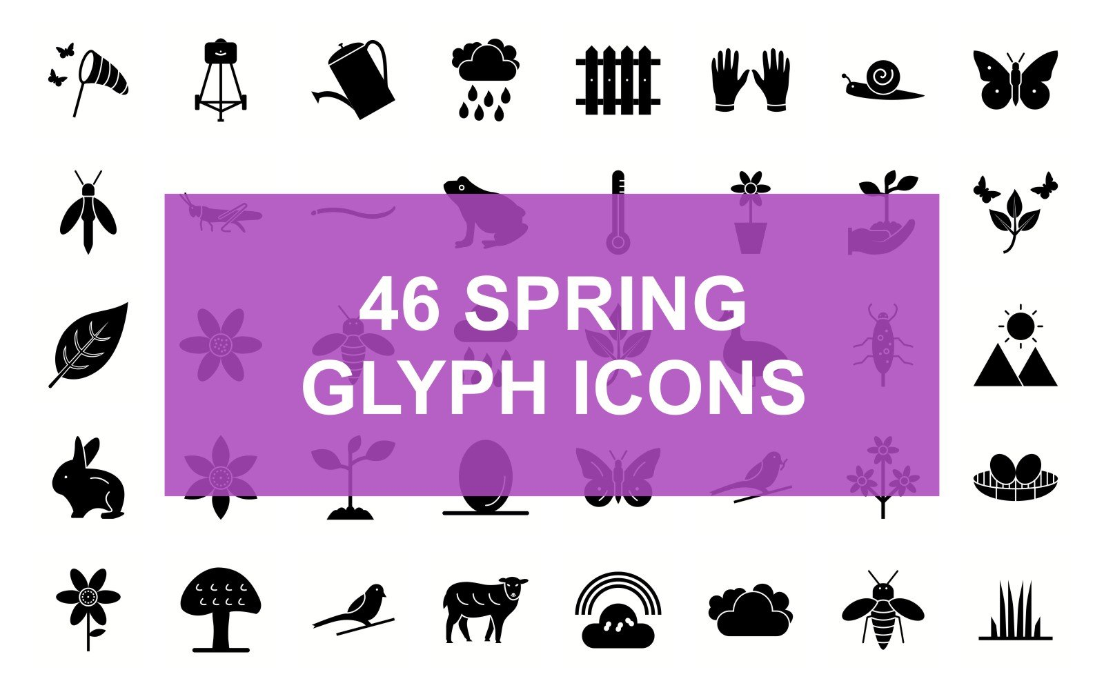 Spring Glyph Black Set Iconset Template
