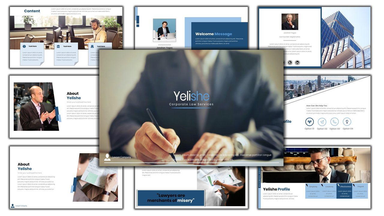 Yelishe - Corporate Law Services PowerPoint Template
