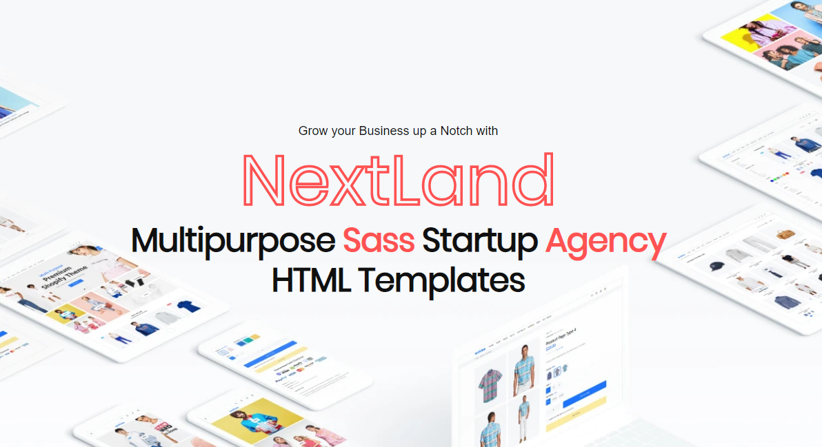 "Modello Siti Web Responsive #109592 ""NextLand - Multipurpose Sass Startup Agency Html"""