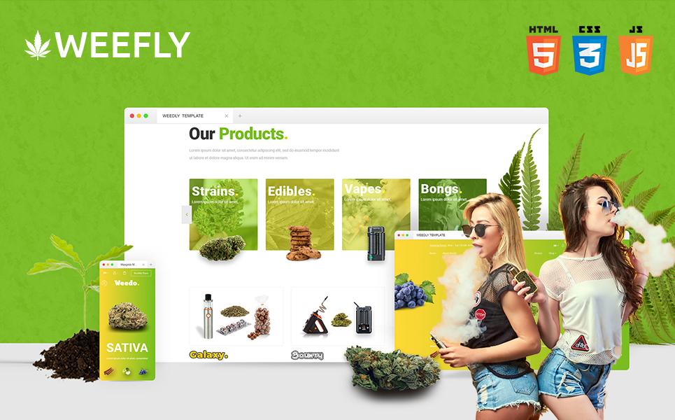 Responsivt Weefly   Multipurpose Cannabis and Marijuana Shop Website Template Hemsidemall #109597