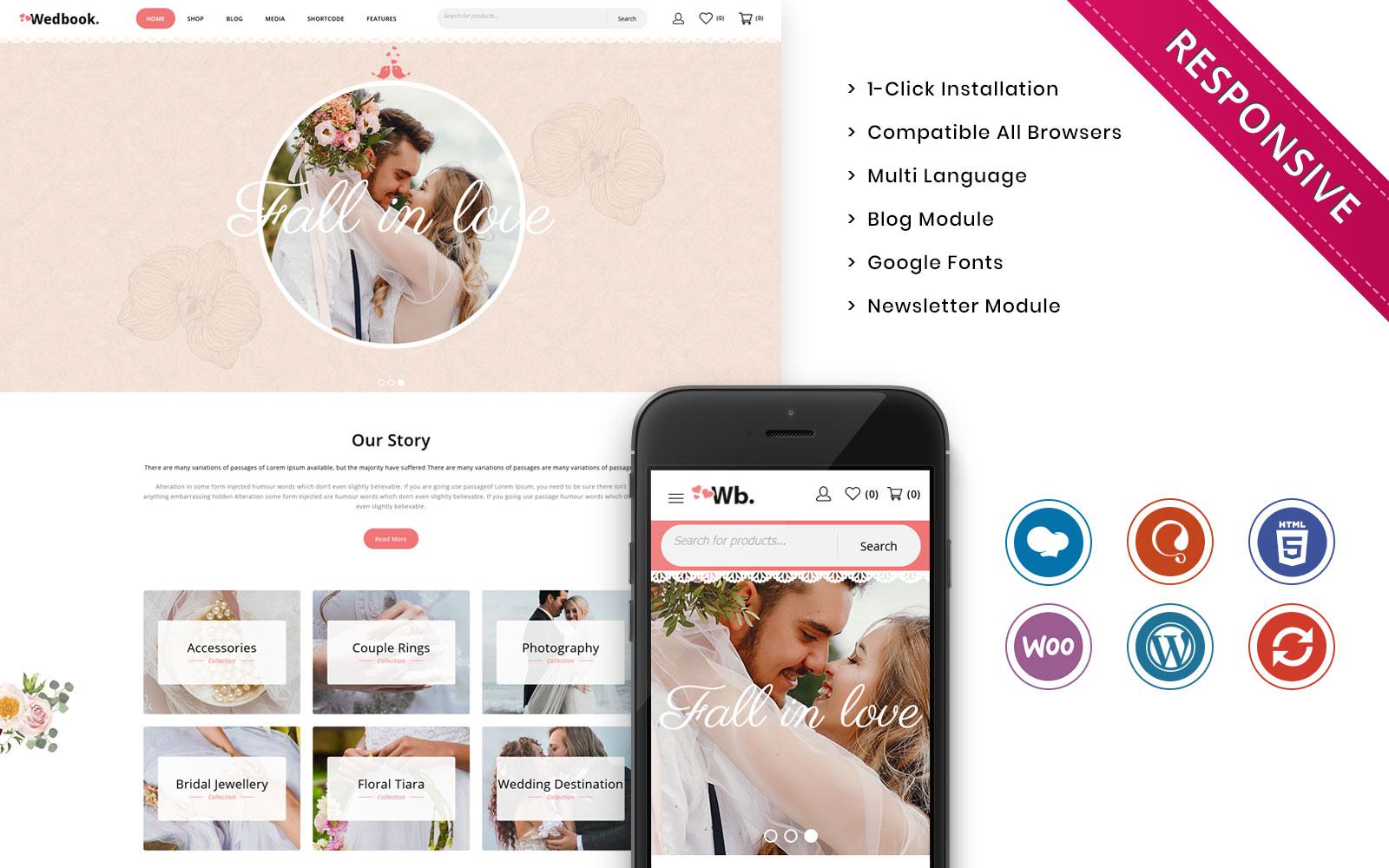 Responsywny motyw WooCommerce Wedbook - The Wedding Store Responsive #109594