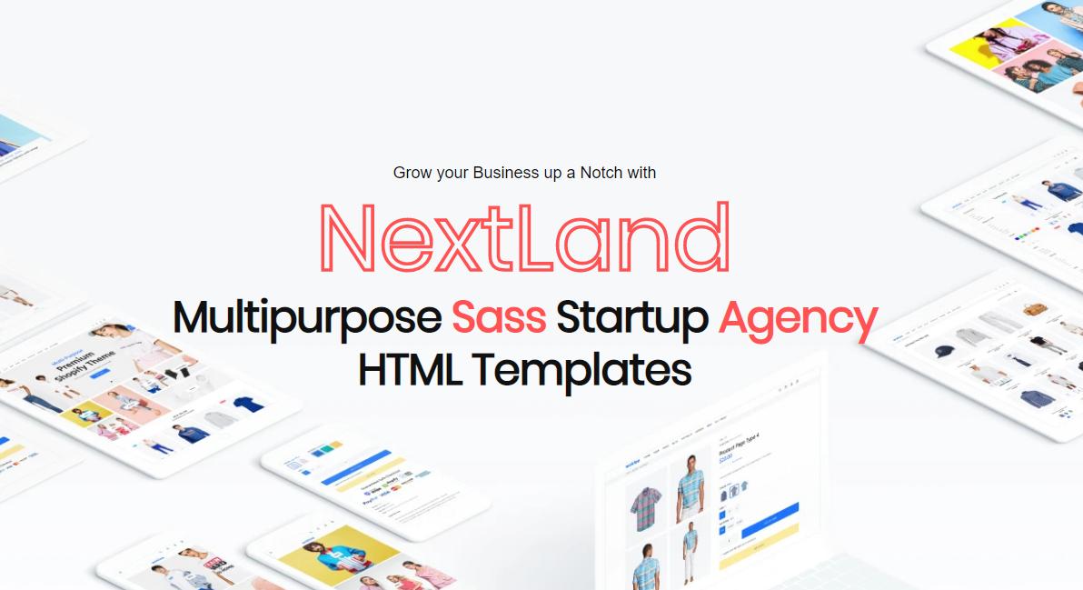 Responsywny szablon strony www NextLand - Multipurpose Sass Startup Agency Html #109592