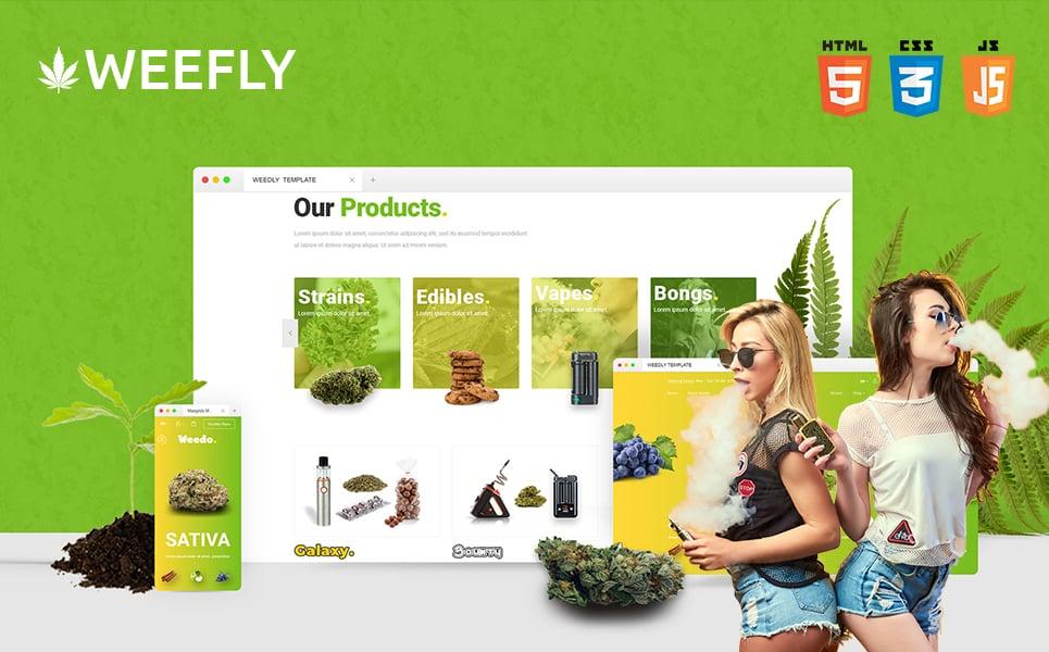 """Weefly | Multipurpose Cannabis and Marijuana Shop"" 响应式网页模板 #109597"