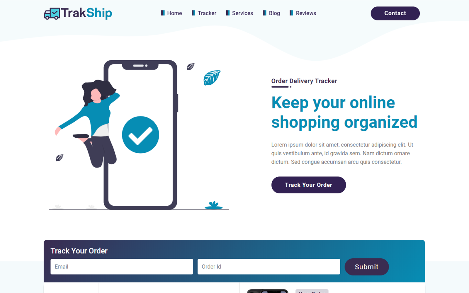 TrakShip | Delivery Tracking Landing Page Template