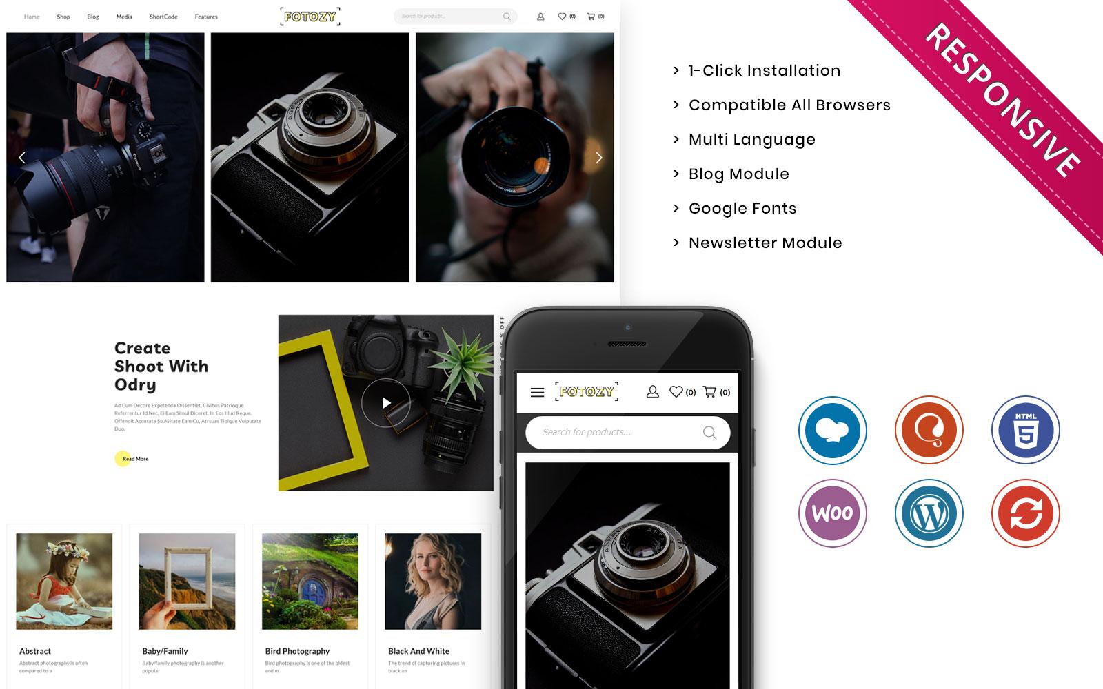 "Modello WooCommerce Responsive #109622 ""Fotozy - The Photography Store Responsove"""