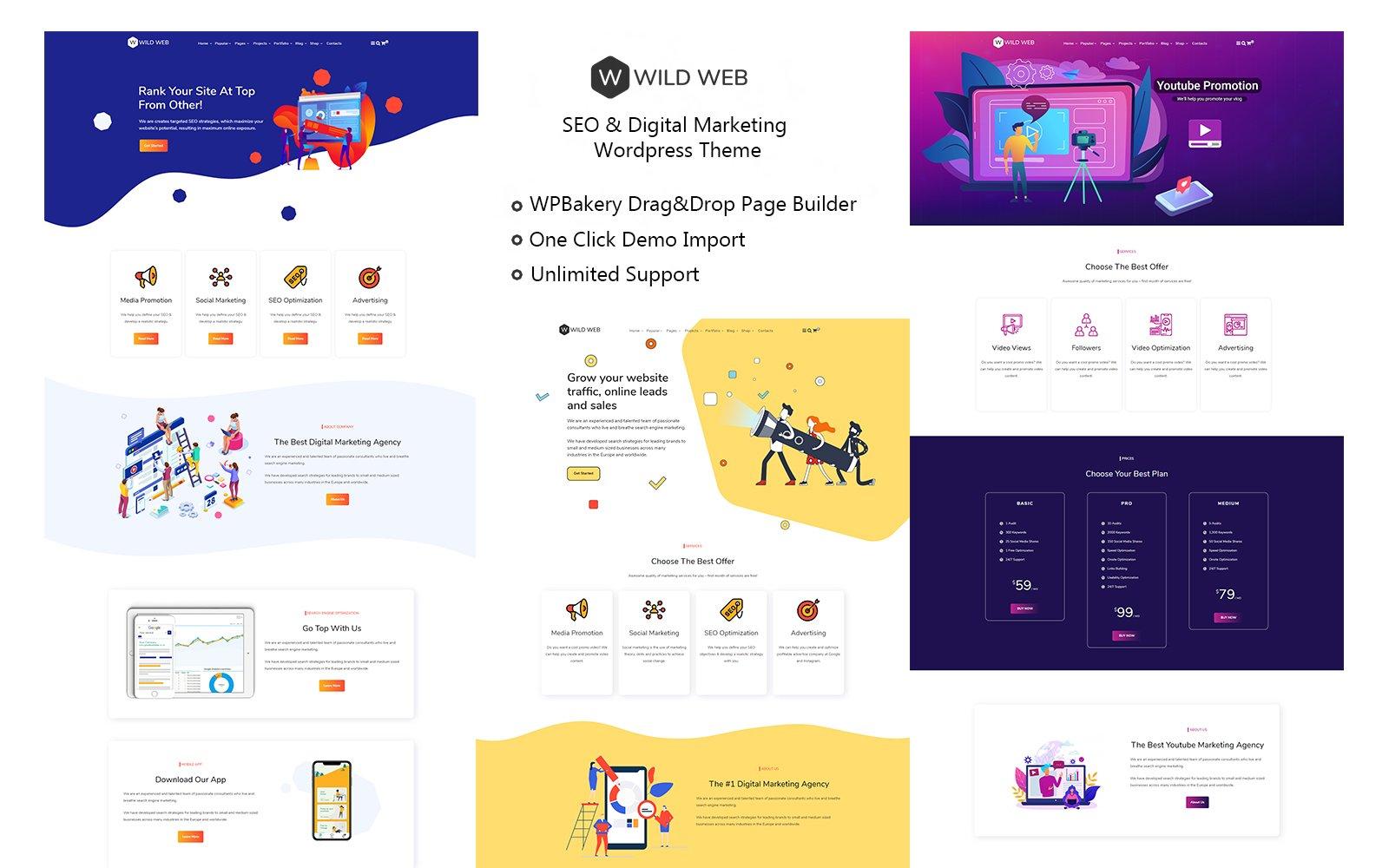 """WildWeb — Seo & Marketing Agency"" WordPress thema №109621"