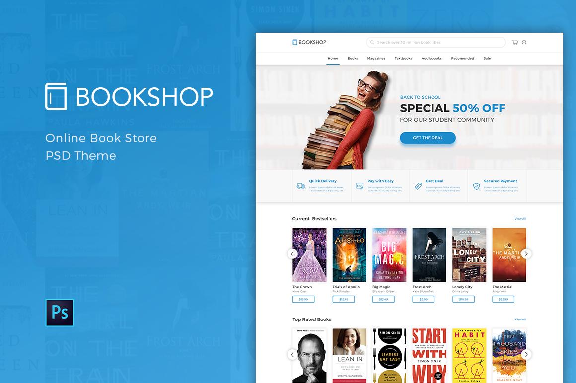"""PSD Vorlage namens """"Bookshop - Online Book Store"""" #109724"""