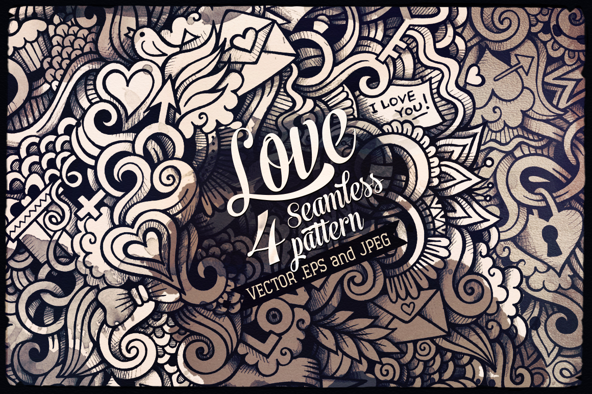 ♥ Love Graphics Doodles Seamless Pattern