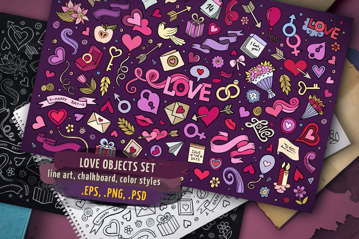 ♥ Love Objects & Symbols Set Vector