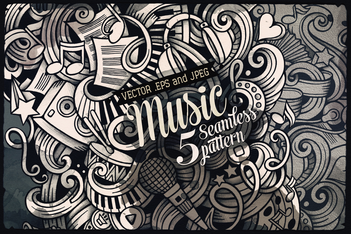 ♬Music Graphics Doodles Seamless Pattern