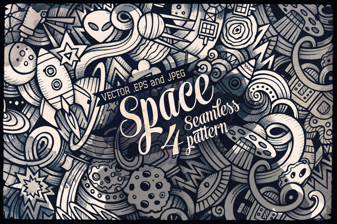 Space Graphics Doodles Seamless Pattern