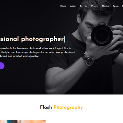 Flash - Photography Landing Page Template #110011