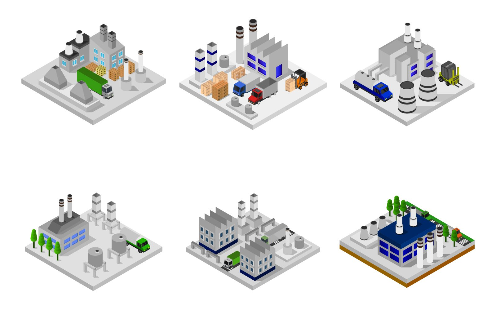 Isometric Industry Set On Background Vector
