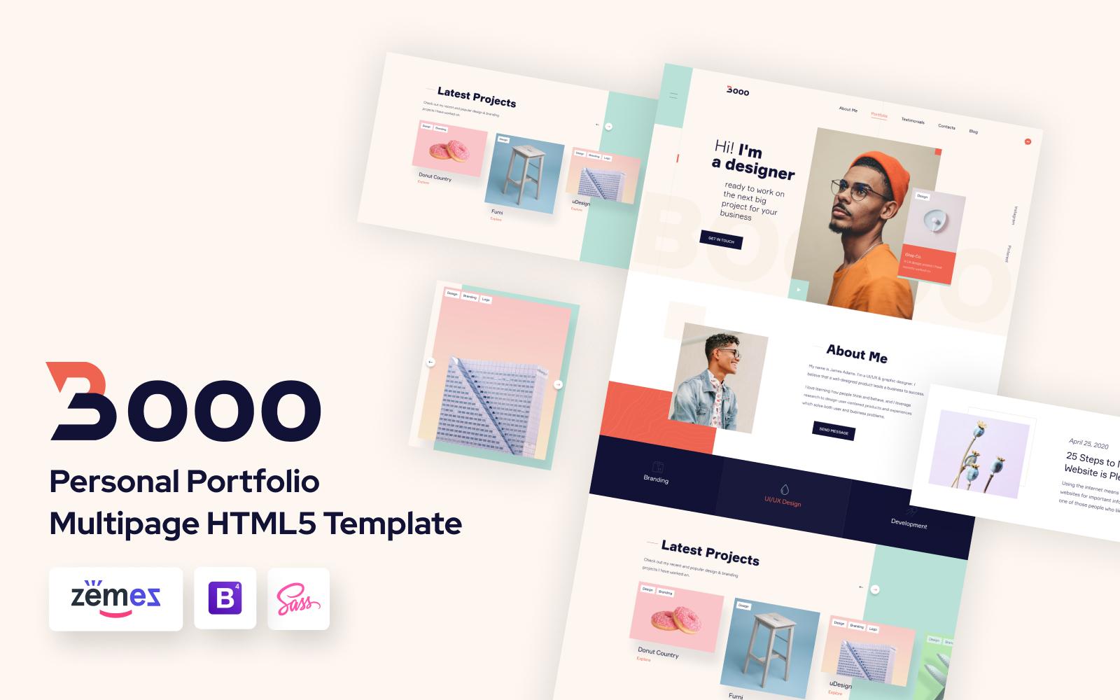 """Lintense Personal Portfolio - Web Designer HTML Landing Page Template"" Responsive Landingspagina Template №110019"