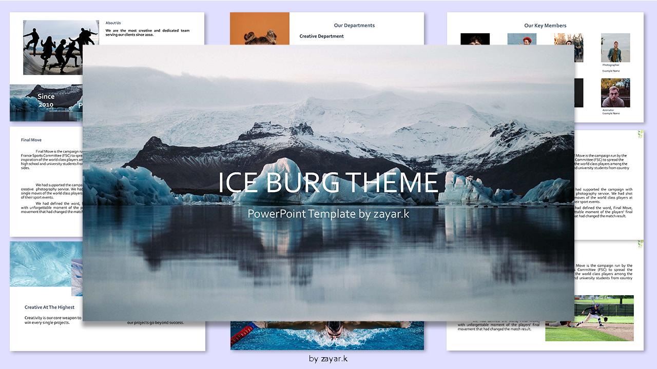 Minimal Ice Berg Theme PowerPoint Template