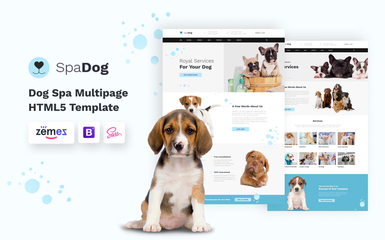 """SpaDog - Dog Grooming Salon"" - адаптивний Шаблон сайту №110020"
