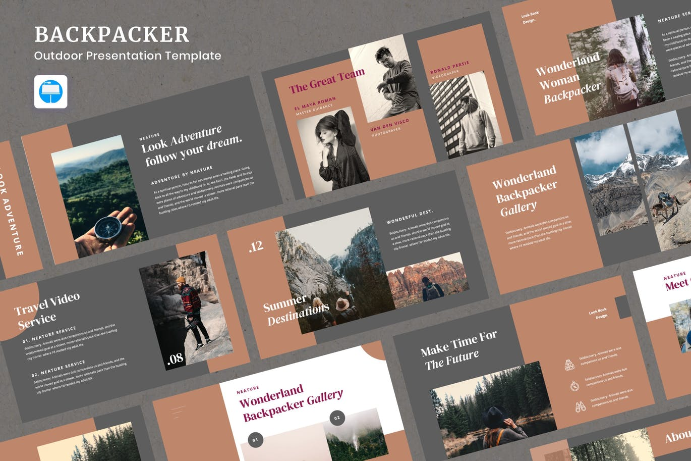 "Template Keynote #110035 ""Backpacker - Outdoor Presentation"""
