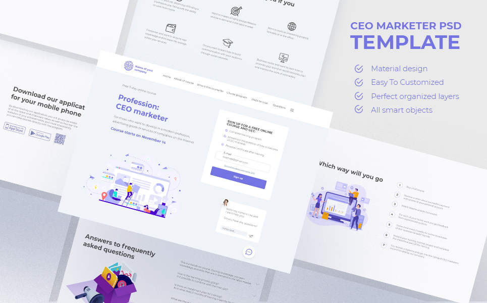 """Template PSD Responsive #110014 """"CEO Marketer Course Landing page"""""""