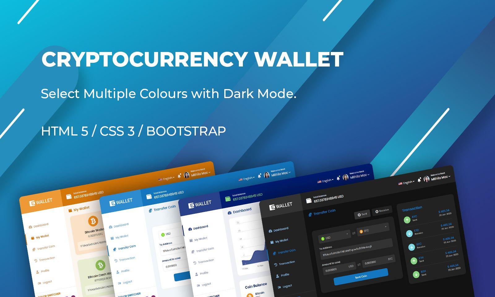 Bootstrap Cryptocurrency Wallet Weboldal sablon 110137